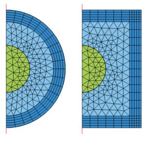 مشینگ دامنه های Infinite Element ، Perfectly Matched Layer PML و Absorbing Layer در فضای 2d axisymmetry