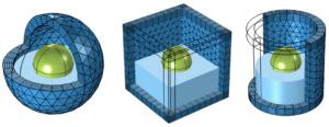 مش بندی دامنه های Infinite Element ، Perfectly Matched Layer PML و Absorbing Layer در فضای 3D سه بعدی